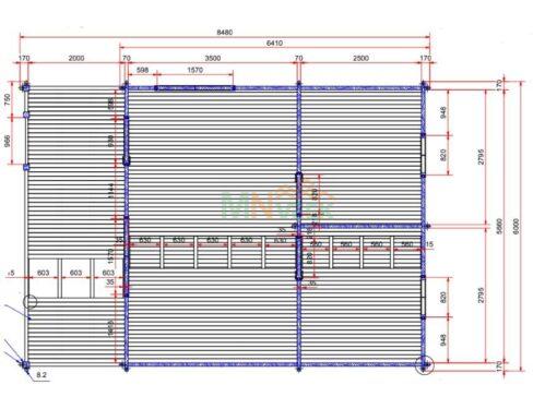 Bungalow de Madera ADONIA 6000mm x 6410mm + 2000mm 70mm Grosor de la Madera Plano MNVEEK