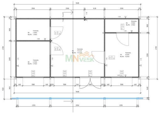 Casa de Madera ASTURIAS 9480mm x 4500mm 70mm Grosor de la Madera Plano MNVEEK