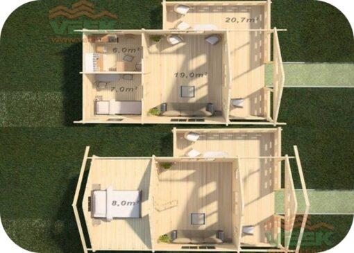 Bungalow Camping Anna6 6000mm x 6000mm 45mm Grosor de la Madera Vista Interior MNVEEK