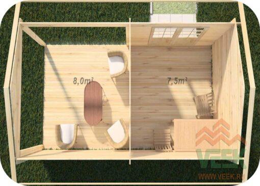 Caseta de jardín Caledonia1 3000mm + 3000mm x 3000mm 45 mm de Grosor de la Madera Vista Interior MNVEEK