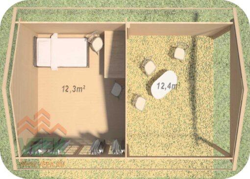 Caseta de jardín Caledonia2 3800mm + 3800mm x 3800mm 45 mm de Grosor de la Madera Vista Interior MNVEEK