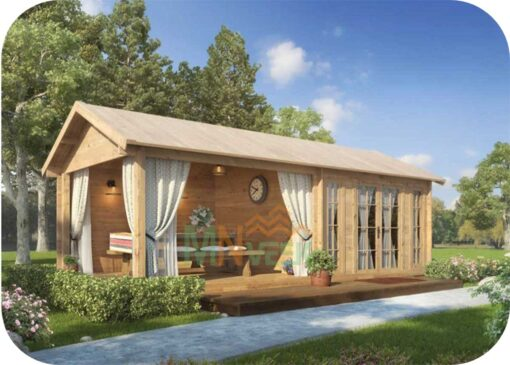 Caseta de jardín de 28,8m² construidos y de 12,3m² de superficie útil con un gran porche al lado con las mismas medidas y de 45 mm de grosor de la madera. Medidas: 7,6m x 3,8 m