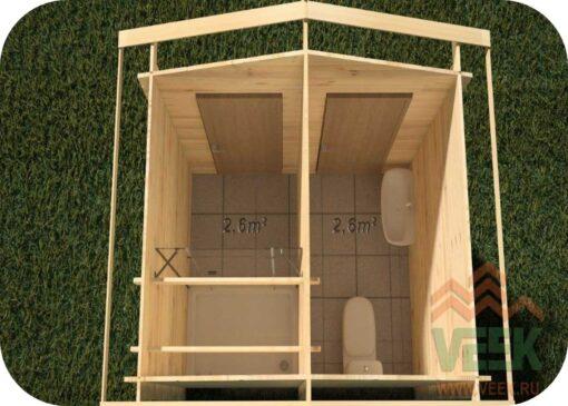 Caseta de Jardín Ducha y Baño 2600mm x 2000mm 28mm Grosor de la Madera Vista Interior MNVEEK