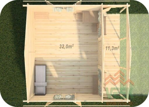 Caseta de Madera Eva 6000mm x 6100mm + 2000mm 70mm Grosor de la Madera Vista Interior 70mm Grosor de la Madera Vista Interior MNVEEK