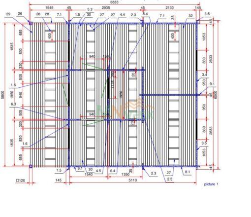 Bungalow de Madera ORCE 6000mm x 5400mm + 1500mm 45mm Grosor de la Madera Plano MNVEEK