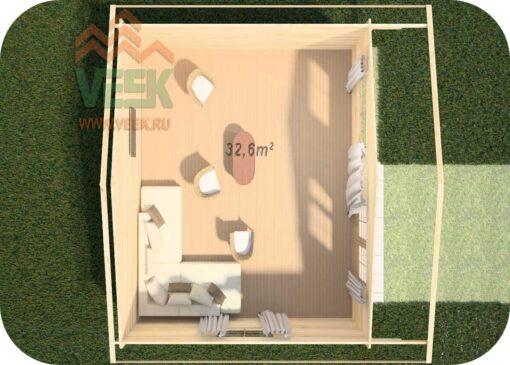 Caseta de Madera Rodas5 6000mm x 6000mm 45mm Grosor de la Madera Vista Interior MNVEEK