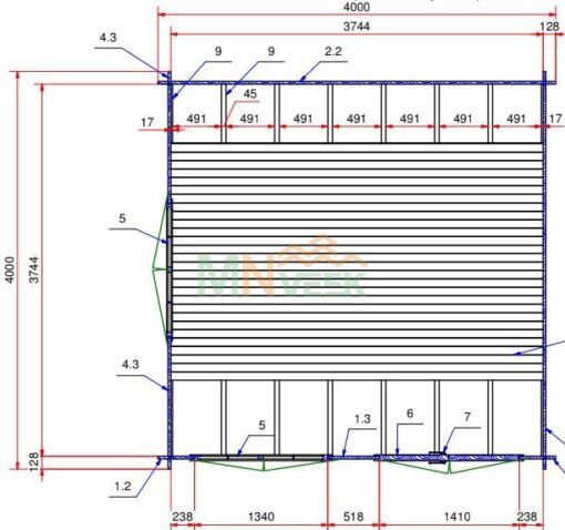 Mirador de Madera Acristalado SANCHO2 4000mm x 4000mm 28mm Grosor de la Madera Plano