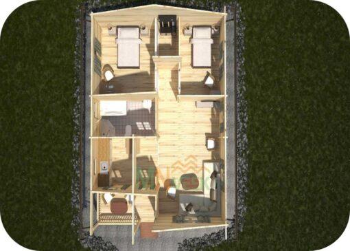 Casa de Madera Tordera 8080mm x 9820mm 70mm Grosor de la Madera Vista Interior MNVEEK