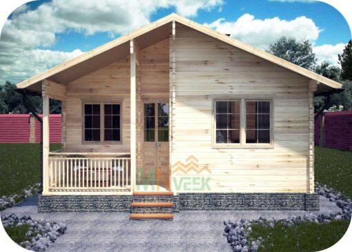 Casa de Madera Tordera 8080mm x 9820mm 70mm Grosor de la Madera Vista Frontal MNVEEK