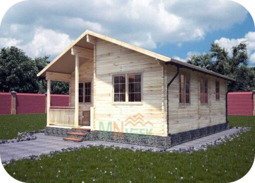 Casa de Madera Tordera 8080mm x 9820mm 70mm Grosor de la Madera Vista General MNVEEK