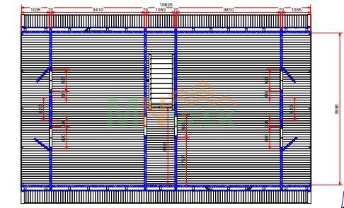 Casa de Madera Verona 5930mm x 8750mm 70mm Grosor de la Madera 2 Plantas Plano1 MNVEEK