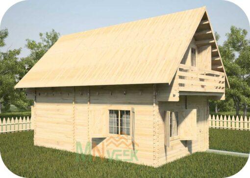 Casa de Madera Verona 5930mm x 8750mm 70mm Grosor de la Madera 2 Plantas Vistas Lateral MNVEEK