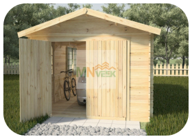 Garaje de Madera Bañolas Vista Frontal Diseño MNVEEK