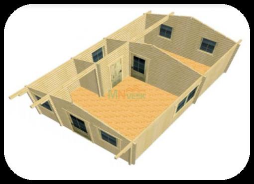 Casa de Madera Corfu3 70mm Grosor de la Madera Vista Interior MNVEEK