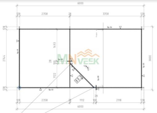 Caseta de Jardín ROSA 3000mm x 3500mm+2500mm 28mm Grosor de la Madera Plano MNVEEK