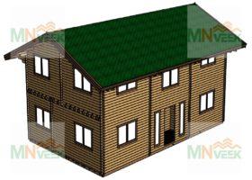 Casa de Madera Monte 12000x7500mm 70mm Grosor de la Madera 2 Plantas Vista General