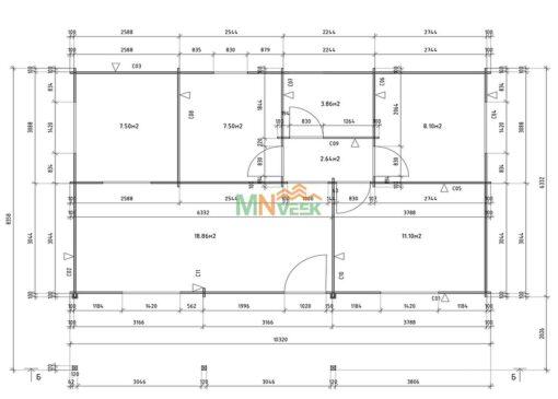 Casa de Madera Soria 10320x6330+2090mm 70mm Grosor de la Madera Plano