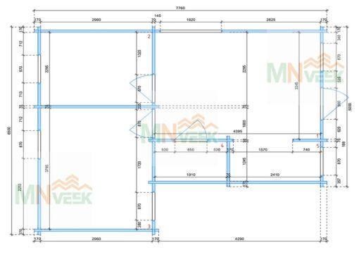 Casa de Madera Corfu1 6500mm x 7600mm 70mm_plano_MNVEEK