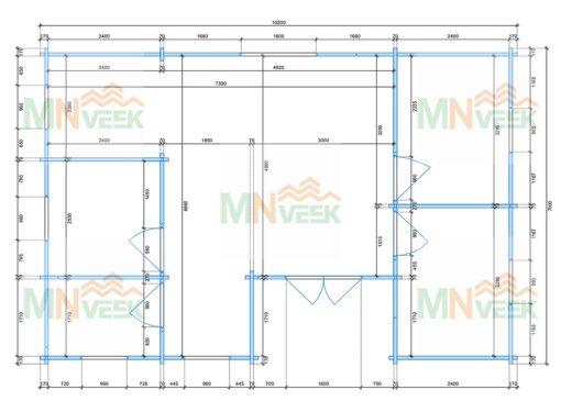 Casa de Madera Inca1 10200mm x 7000mm 70mm_plano_MNVEEK