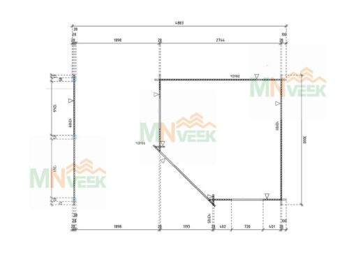 Caseta de jardin Guga 5000mm x 3000mm 28mm plano mnveek