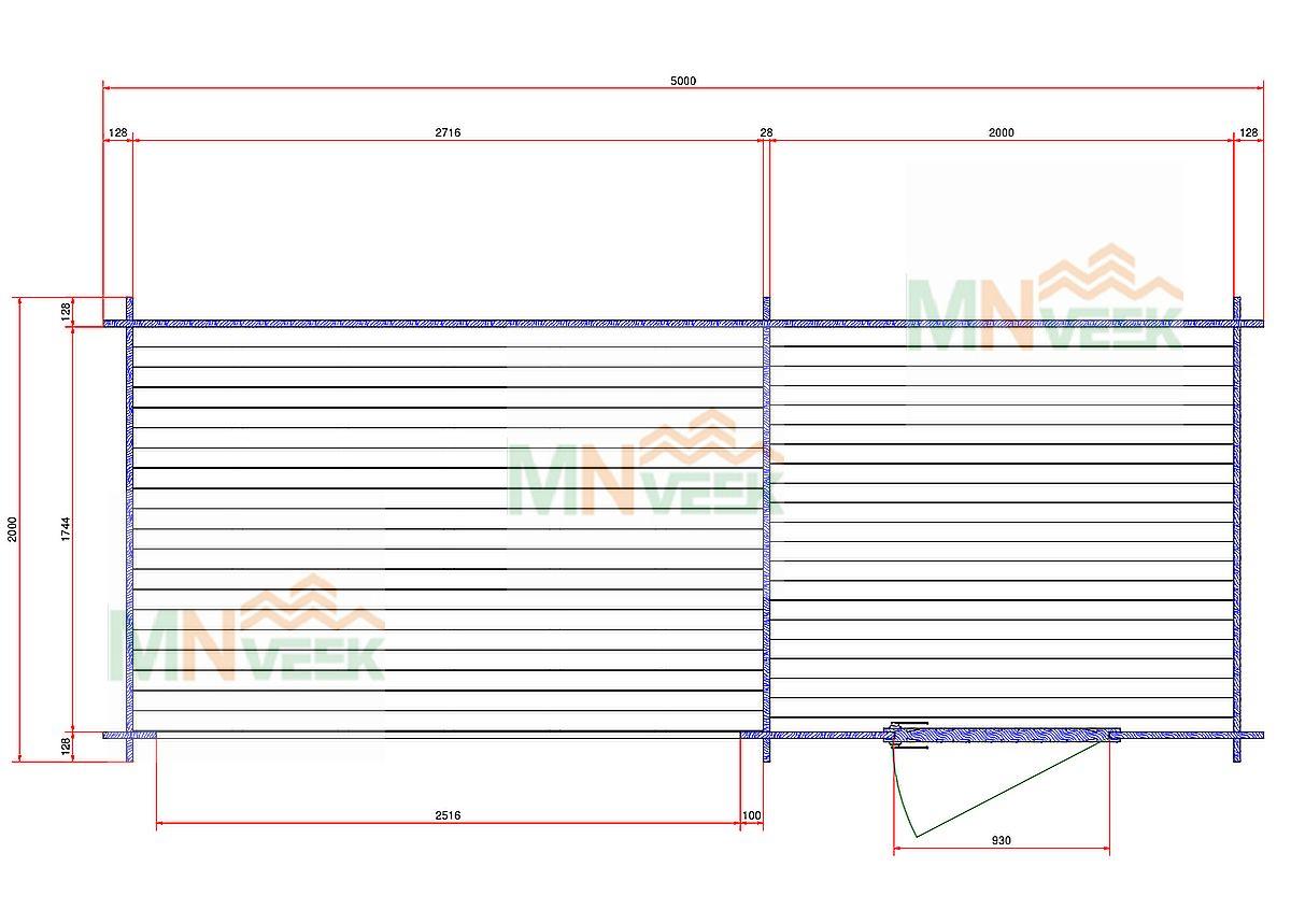 Caseta de jardin Lena 5000mm x 2000mm 28mm plano mnveek