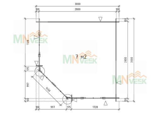 Caseta de jardin Leo 3000mm x 3000mm 28mm plano web