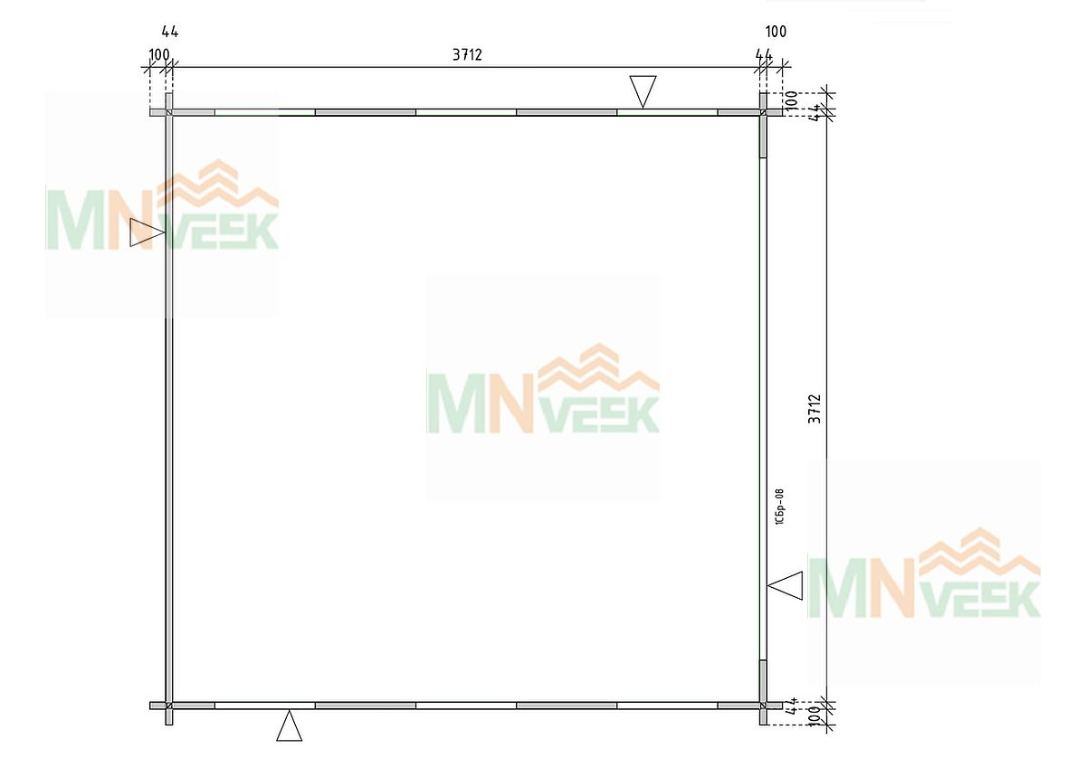 Mirador de madera Mirasol1 4000mm x 4000mm 45mm plano mnveek