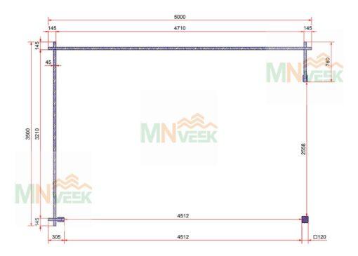 Porche de Madera Besalu1 5000mm x 3500mm 45mm plano mnveek